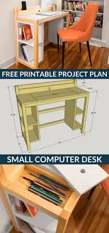 how to build a diy small computer desk free printable project plans on buildsomething com this project proves that a desk doesn t have to be bi