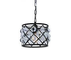 cassiel mini drum crystal chandelier black