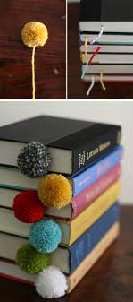 Easy DIY Projects-- Adorable little pom-pom bookmarks! Cute and super easy