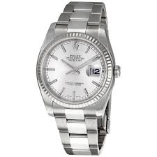 rolex datejust silver index dial 18k white gold fluted bezel rolex datejust silver index dial 18k white gold fluted bezel oyster bracelet men s watch 116234 sso