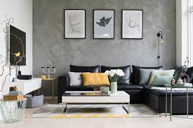 black leather couch living room decor