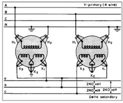 open delta wiring car wiring diagram download cancross co 480 To 240 Transformer Wiring Diagram open delta vs y question page 2 open delta wiring so, according to this, you can make the third phase from a two phase source? 480 to 240 volt transformer wiring diagram