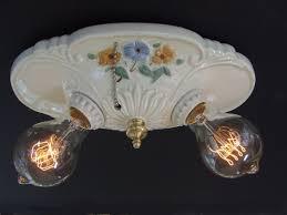 vintage porcelain flush mount ceiling light fixture rewired ceramic pull chain bathroom light fixture