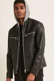 faux leather combo jacket