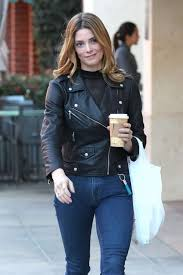 ashley greene in jeans and leather jacket 05
