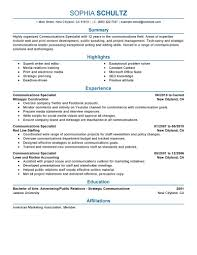 Communications Resume Objective Communications Resume Template