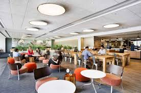office cafeteria design. modern office cafe with comfortable colorful chairs and small tables cafeteria design o