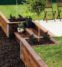 timber retaining wall with steps