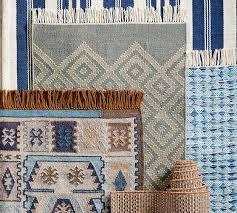 oxford stripe recycled yarn indooroutdoor rug blue pottery barn
