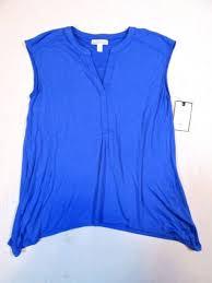 Dana Buchman Size Chart Dana Buchman Blue V Neck Sharkbite Sleeveless Top Shirt Womens Size L