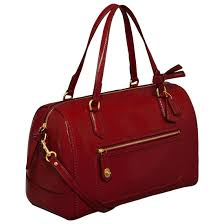 Coach Poppy Textu Patent Sherry East West Satchel Handbag