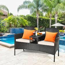 outdoor cushioned rattan wicker patio