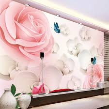 3D HD Large Mural Pink Rose Photo ...