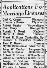 Joseph E. Vidunas 1965 marriage license Margaret A. Mason - Newspapers.com