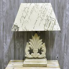rustic wooden painted lamp base with script print linen shade