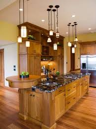 kitchen lighting excellent updated mission style love the raised bar at the end beautiful kitchen lighting