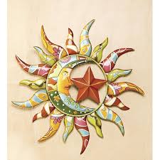 >talavera painted metal sun moon wall art walmart  talavera painted metal sun moon wall art