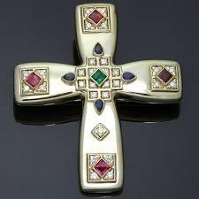 cartier byzantine multicolor gemstone diamonds 18k yellow gold cross pendant brooch necklace