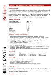 Cv Mechanic Student Entry Level Mechanic Resume Template