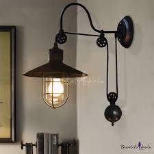 industrial style adjule 1 light wall sconce in black with wire guard farmhouse study room lights