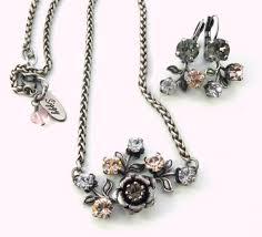 jewels siggy jewelry swarovski pendant flowers victorian vintage inspired romantic pink grey rose petals silver pendant