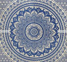 p159 royal blue gold ombre mandala bedding bohemian bed set