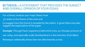 a guide to writing the literary analysis essay introduction the  b thesis a statement that provides the subject and overall opinion of your