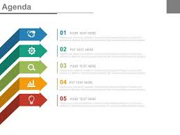 Business Agenda Five Staged Arrows And Icons For Business Agenda Powerpoint
