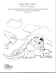 The Good Samaritan Coloring Page Parable Pages P Kids Bible Story
