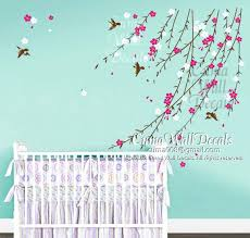 baby girls wall decals flowers vines nursery wall decals for baby girl blue turquoise coloring flying