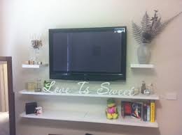 Floating Shelves Under Wall Mounted Tv 2 Tier White Stained Wooden Shelf  1000 Ideas About Floating