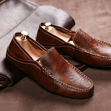 Men Shoes <b>Luxury Brand</b> Loafers <b>Genuine Leather</b> Driving Shoes ...