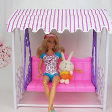 girl birthday gift doll house furniture garden swing set plastic vintage sofa play toy accessories for barbie dollhouse furniture cheap