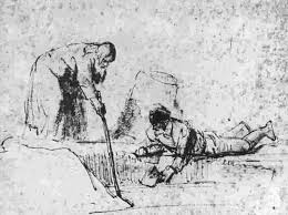 Elisa gets the ax out of the water. Rembrandt Harmensz. van Rijn