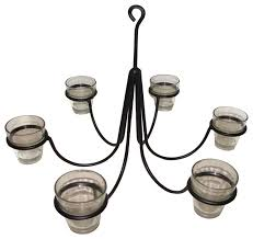 wrought iron 6 arm votive candle chandelier with pots hand made