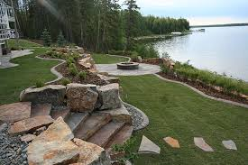 riverstone mining natural stone steps retaining wall firepit
