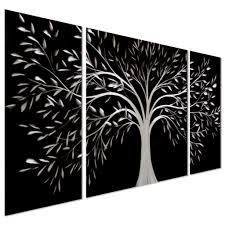 Black Iron Wall Decor Tree Of Life Metal Wall Art Large Decoration With Branch And Leaves