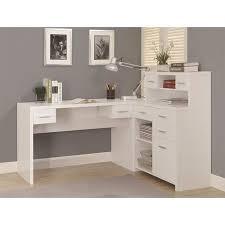 L shaped home office desk Solid Wood Walmart Monarch Hollowcore Lshaped Home Office Desk White Walmartcom