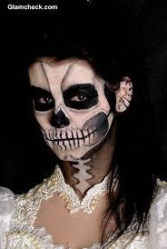 way inspired make up partial skull makeup scary skull face makeup