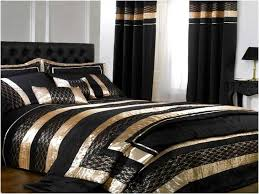 black white and gold comforter set and curtain