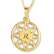 8 point star engraved initial pendant 24k gold plated