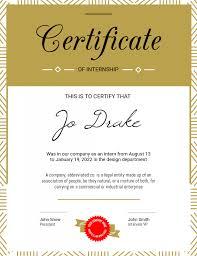 Corporate Certificate Template Portrait Internship Certificate Template Postermywall