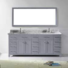 Shop 78 inch bathroom vanities for your home decor. Virtu Usa Caroline Parkway 78 Inch Grey Double Bathroom Vanity Set With White Marble Top Walmart Com Walmart Com