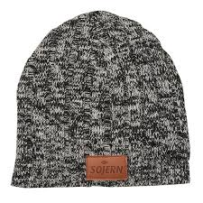 custom beanie with leather logo patch winter business gifts