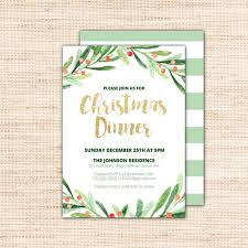 Holiday Dinner Invitation Template Holly Wreath Christmas Dinner Invitations Template Printable Holiday Invites With Gold Glitter Text Diy Instant Download Editable Pdf X002