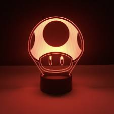 Kids Red Night Light Us 9 65 31 Off Game Super Mario 1 Up Mushroom Kids Led Night Lamp For Child Bedroom Decorative 3d Lamp Battery Powered Cool Baby Night Light 3d In