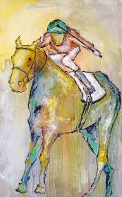 large horse painting equestrian art original race by lizwiley