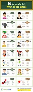 boring words what to use instead infographic  16 boring words what to use instead infographic