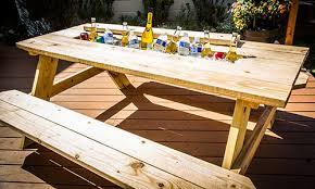 diy outdoor table with cooler. Unique Diy Marku0027s DIY Picnic Table Cooler With Diy Outdoor I