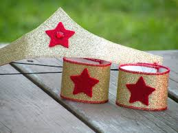 womans sized wonder woman inspired crown and arm bands easy costume accessory